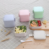 Wheat Straw Lunch Box Leakproof Square Double layer for Office Outdoor Bento