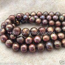 12-14mm Brown Chocolate Round Potato Genuine Freshwater Pearl Loose Bead 0.7mm