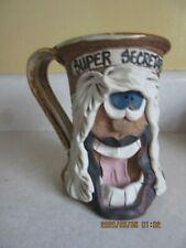 "ugly face pottery coffee mug,  ( SUPER SECRETARY )  fun gag gift  4-1/2"" tall"