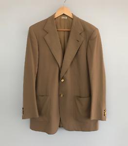 Rare VTG 60's Roman Style By BRIONI Gold Logo Buttons Blazer Jacket Beige 39/49