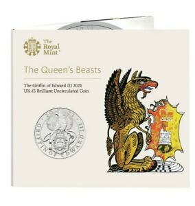 NEW** Royal Mint 2021 Griffin of Edward III BU £5 Coin Pack - Queens Beast