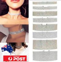 SILVER Thick Diamond Crystal Rhinestone Choker Wide Velvet Ribbon Wrap