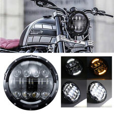 "7"" H4 LED Headlight w/ Halo Indicator DRL for Road King Electra Suzuki GS Bike"