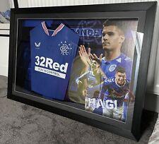 More details for framed ianis hagi signed glasgow rangers football shirt + coa with led lights