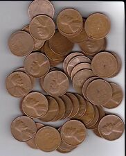 1956D Wheat Pennies, Full roll of 50 pennies Very Nice Coins all readable dates.