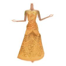 1 Pcs Fashion Wedding Party Dress For Barbies Belle Princess Dolls Yellow FineLA