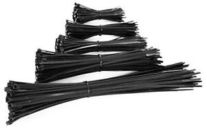 100PCS BLACK CABLE TIES NON RELEASABLE CABLE WRAPS ZIP TIES - VARIOUS SIZE