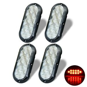 """(4) Trailer truck Red LED Surface Mount 6"""" Oval Stop Turn Tail Light Sealed"""