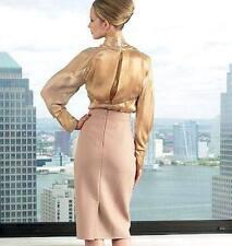 $1450 Donna Karan Collection Blush Seamed Pencil Skirt RUNWAY 2011** US 10