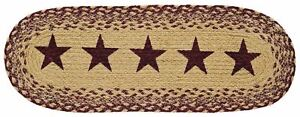 """24"""" L Braided Country Farmhouse Jute Table Runner Oval Tan w/ Burgundy Red Stars"""
