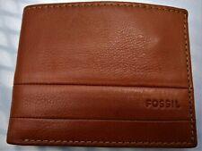 Fossil Men's Bifold Wallet Lufkin Traveler Double Flip ID Brown Pebbled Leather