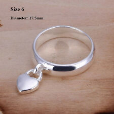 Women Sterling 925 Silver Plated Heart Lock Band Solid Ring Jewelry Rings 7