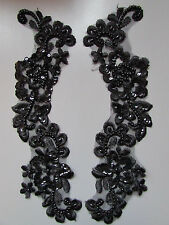 Black Beaded Sequin Embroidered  Applique x 2   Sewing/Costume/Crafts/Bridal