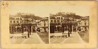 Italia Napoli Place Statue c1865 Foto Stereo Vintage Albumina