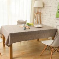 Cotton Linen Coffee Color Tablecloth Cover Rectangle Tea Table Cloth Home Decor