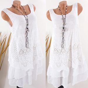 Kleid Damen Sommer Hippie Strand Lagenlook Ibiza Boho Stickerei weiß 38 40 42