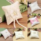 Bowknot Satin Diamond Pocket Ring Pillow Bearer Cushion Romantic Wedding Party
