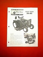 "WHEEL HORSE TRACTOR 48"" MOWER DECK MODEL RM-485 OWNER WITH PARTS MANUAL"