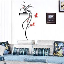 DIY Vase Flower Tree Crystal Arcylic 3D Wall Stickers Home Decor DIY Home Room