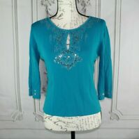 Joseph A Womens Knit Top Petite Size Small Beaded & Sequins 3/4 Sleeve Shirt