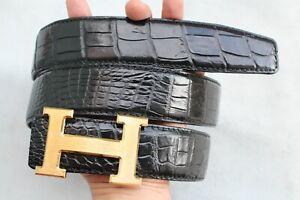 "W 1.3"" Black Genuine CROCODILE Skin MEN'S Belt Replacement Belt No Jointed"