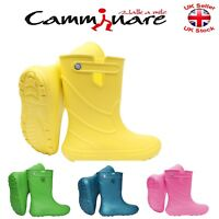 Kids BOYS GIRLS Camminare LIGHTWEIGHT Rainy Wellies Wellingtons Boots JUNIOR