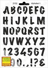 Schablone-Stencil A5 150-2152 Alphabet 1 -Neu- Heike Schäfer Design