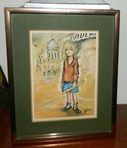 VINTAGE Pop Art Mont Matre Paris Artists District Boulangerie Print Signed Willy