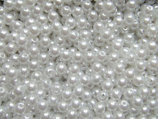 100pz  perline in Acrylic 6mm tondo colore bianco bijoux