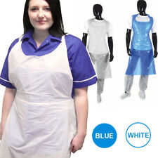 Blue or White Waterproof Disposable Polythene Plastic Aprons Flat Pack or Roll