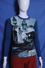 VTG '60s Zen print Italy tourist print blue acrylic MOD shirt S