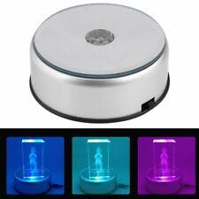 360 Rotating 7 LED 3D Crystal Trophy Laser Electric Light Stand Base Display
