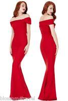 Goddiva Red Bardot Bow Shoulder Fishtail Maxi Evening Dress Prom Party Ball