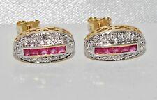 9ct Gold Ruby & Diamond Art Deco Design Stud Earrings