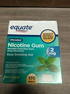 Equate Cool Mint Flavor UnCoated Nicotine Gum Value Pack, 2 mg, 170 count..