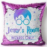 Harry Wizard Sequin Cushion Reveal Magic Cover Personalised Birthday Gift KC71