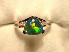 Opal Ring Ladies Sterling Silver 925 & CZ, 8x 8mm Trillion Triplet. item 070283.