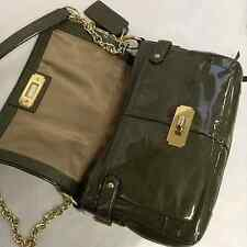 Auth. COACH Chelsea Patent Leather Flap 17854 Messenger Bag (RARE!!) Olive GREEN