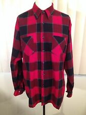 Vintage 1980s Red Gray Black Plaid Flannel Shirt Large Rockabilly Soft Boyfriend