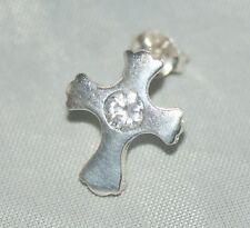 Cross / Crucifix Stud - Earring [ 925 Sterling Silver & Cubic Zirconia ]
