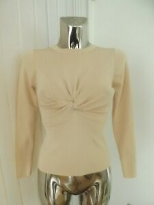 ZARA PEACH NUDE COLOURED LONG SLEEVE KNOT FRONT EFFECT SIZE EUR M