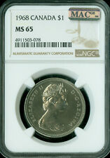 1968 CANADA DOLLAR NGC MAC MS-65 PQ 2nd FINEST GRADE SPOTLESS .