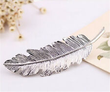 Women Girls Feather Leaf Hairpin Barrettes Metal Hair Clip Accessory Fancy Party