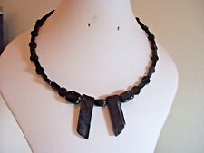 "17"" Black Obsidian, Agate & Dyed Quartz Shard Memory Wire Necklace"