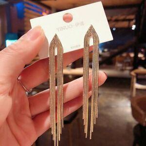 Fashion Gold Silver Tassel Long Chain Earrings Drop Dangle Women Jewelry Gifts
