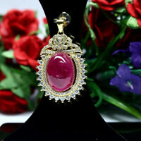 NATURAL 12 X 17 mm. CABOCHON RED RUBY & WHITE CZ PENDANT 925 STERLING SILVER