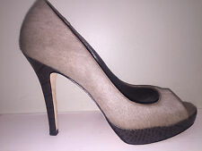 Cole Haan Taupe & Brwn Animal Hide and Croc Platform Stilettos Sz 9 - Worn ONCE!