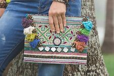 Handmade Tribal Clutch Bag Vintage Hmong Embroidered Pom Poms Fair Trade in Blue