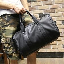 NEW MEN PU LEATHER TRAVEL LUGGAGE CARRY ON HOLDALL BAG DUFFLE BLACK GYM BAG