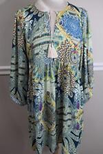 Umgee Boho Chic  Multi Colored  Peasant Tunic Dress Size L (DR100